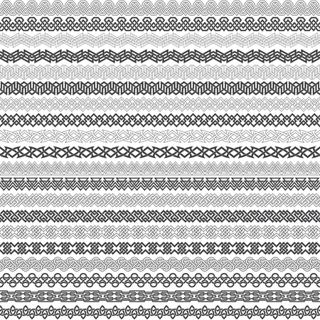 wickerwork: Set of vintage borders for design. Twenty border elements for frames in knotting style. Patterned brushes kit.
