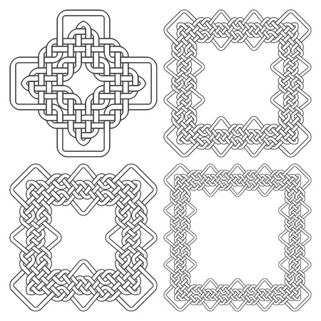 wickerwork: Set of magic knotting frames and celtic cross. 4 square decorative elements with stripes braiding for your design.