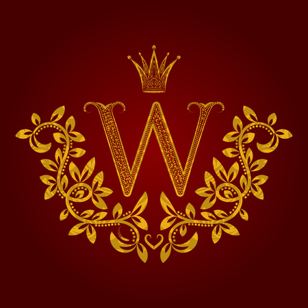 pretentious: Patterned golden letter W monogram in vintage style. Heraldic coat of arms. Baroque template.