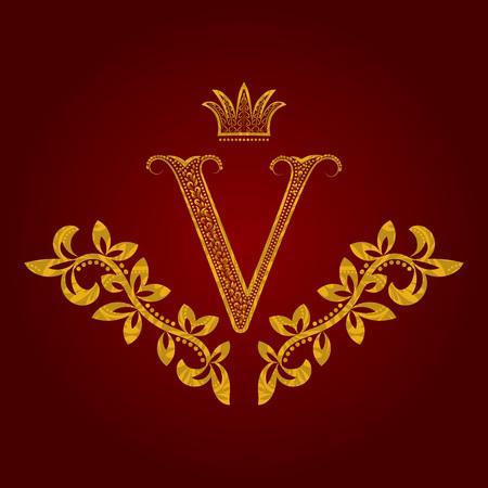 Patterned golden letter V monogram in vintage style. Heraldic coat of arms. Baroque template. Illustration
