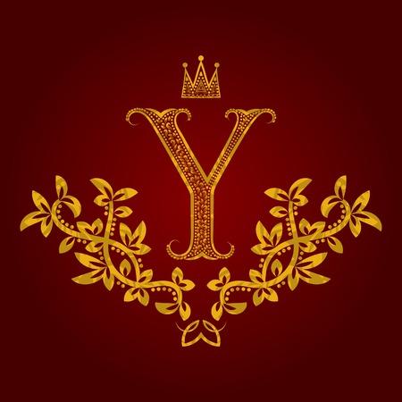 Patterned golden letter Y monogram in vintage style. Heraldic coat of arms. Baroque  template. Illustration