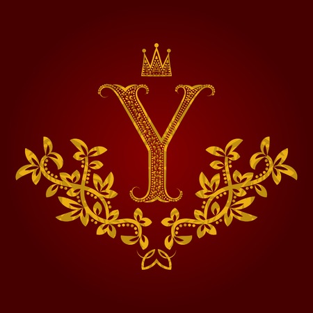 pretentious: Patterned golden letter Y monogram in vintage style. Heraldic coat of arms. Baroque  template. Illustration