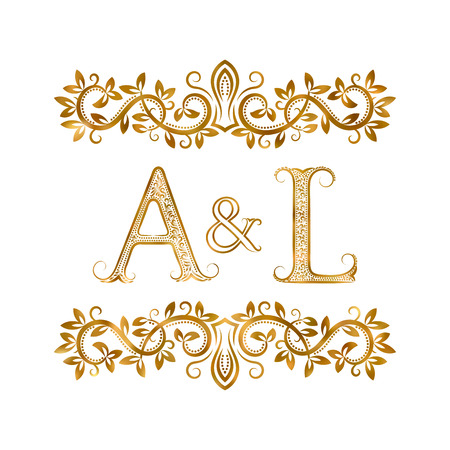 initials: A&L vintage initials symbol. Letters A, L, ampersand surrounded floral ornament. Wedding or business partners initials monogram in royal style.