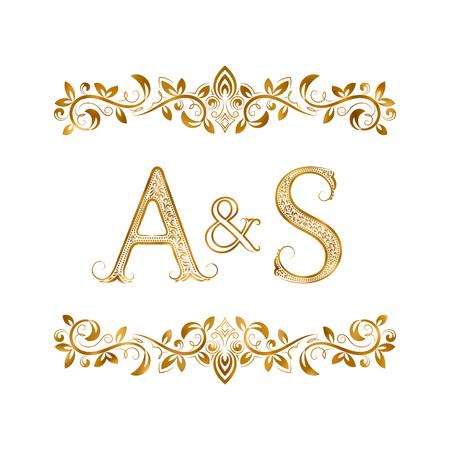 A ・ S ヴィンテージ イニシャル シンボル。文字 A、S、アンパサンドには、花の飾りが囲まれています。結婚式やビジネス パートナーの高貴な様式で