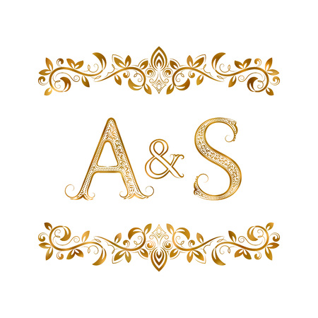 A&S vintage initials symbol. Letters A, S, ampersand surrounded floral ornament. Wedding or business partners initials monogram in royal style.