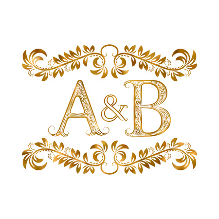 initial: A&B vintage initials symbol. Letters A, B, ampersand surrounded floral ornament. Wedding or business partners initials monogram in royal style.