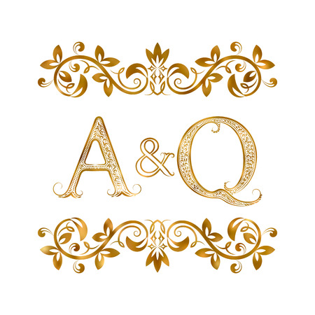 initials: A&Q vintage initials symbol. Letters A, Q, ampersand surrounded floral ornament. Wedding or business partners initials monogram in royal style.