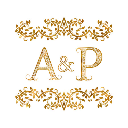 ap: A&P vintage initials symbol. Letters A, P, ampersand surrounded floral ornament. Wedding or business partners initials monogram in royal style. Illustration