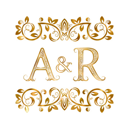 A&R vintage initials symbol. Letters A, R, ampersand surrounded floral ornament. Wedding or business partners initials monogram in royal style.