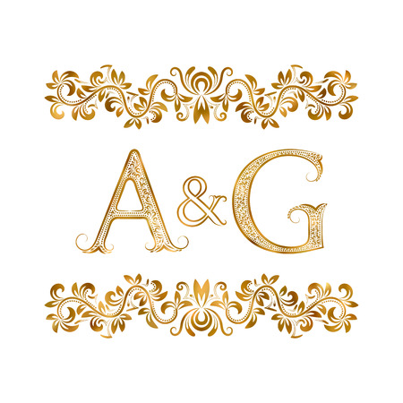 ag: A&G vintage initials symbol. Letters A, G, ampersand surrounded floral ornament. Wedding or business partners initials monogram in royal style.