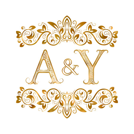 initials: A&Y vintage initials symbol. Letters A, Y, ampersand surrounded floral ornament. Wedding or business partners initials monogram in royal style.