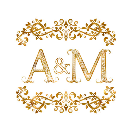initials: A&M vintage initials symbol. Letters A, M, ampersand surrounded floral ornament. Wedding or business partners initials monogram in royal style.