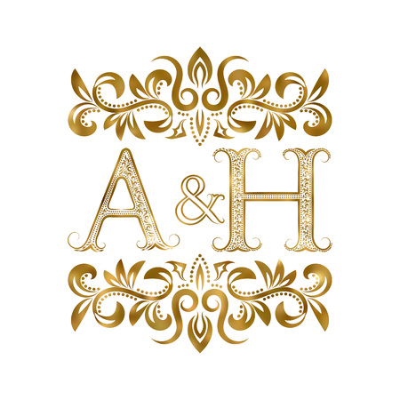 A&H vintage initials symbol. Letters A, H, ampersand surrounded floral ornament. Wedding or business partners initials monogram in royal style.