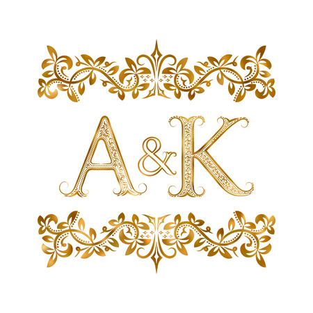 A&K vintage initials symbol. Letters A, K, ampersand surrounded floral ornament. Wedding or business partners initials monogram in royal style. Illustration