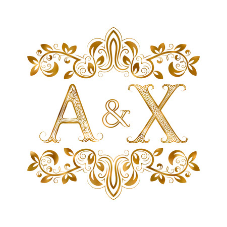 initials: A&X vintage initials symbol. Letters A, X, ampersand surrounded floral ornament. Wedding or business partners initials monogram in royal style. Illustration