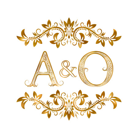 initials: A&O vintage initials symbol. Letters A, O, ampersand surrounded floral ornament. Wedding or business partners initials monogram in royal style.