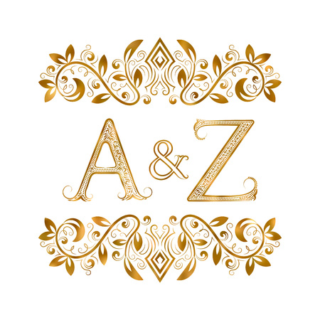 initials: A&Z vintage initials symbol. Letters A, Z, ampersand surrounded floral ornament. Wedding or business partners initials monogram in royal style.