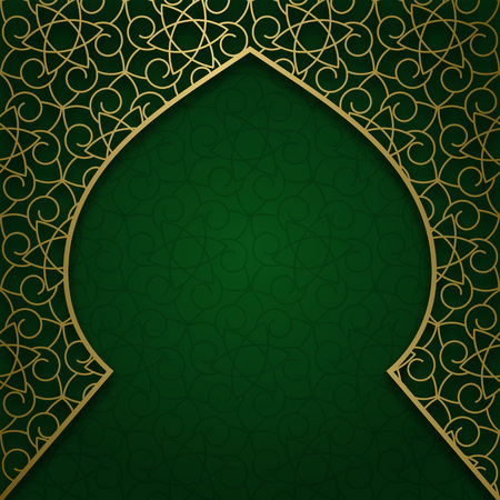 Traditional ornamental background with arched frame. Cover decoration. Illustration