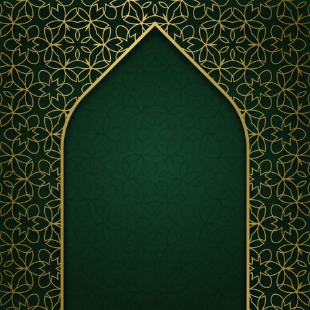 decorative element: Traditional ornamental background with arched frame. Cover decoration. Illustration
