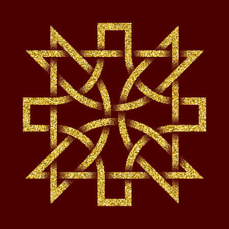 Golden glittering template in Celtic knots style on dark red background. Tribal symbol in cruciform maze form. Gold ornament for jewelry design.