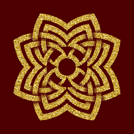 Golden glittering  template in Celtic knots style on dark red background. Tribal symbol in octagon flower maze form. Gold ornament for jewelry design.