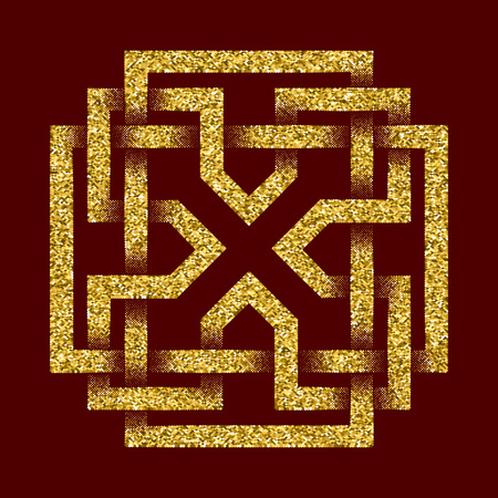 dark red: Golden glittering template in Celtic knots style on dark red background. Tribal symbol in cruciform maze form. Gold ornament of X letter for jewelry design.