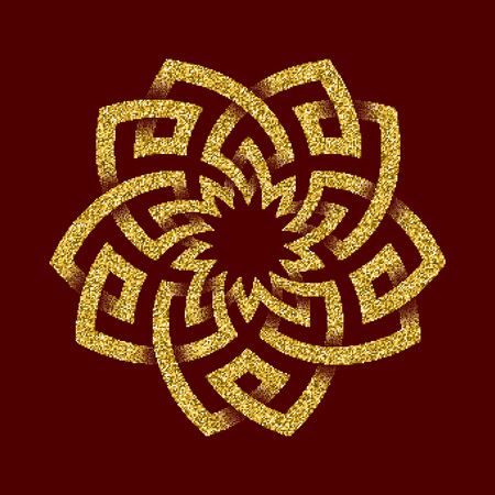 dark red: Golden glittering template in Celtic knots style on dark red background. Tribal symbol in pentagon maze form. Gold ornament for jewelry design. Illustration