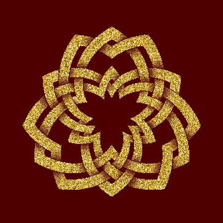 Golden glittering template in Celtic knots style on dark red background. Tribal symbol in trefoil form. Gold ornament for jewelry design. Illustration