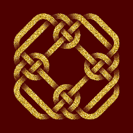 dark red: Golden glittering template in Celtic knots style on dark red background. Tribal symbol in cruciform rhombus maze form. Gold ornament for jewelry design. Illustration