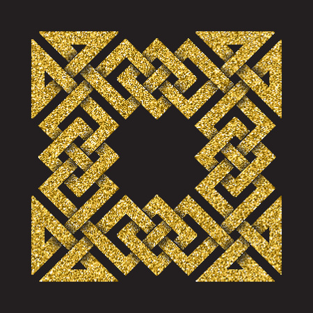 Golden glittering template in Celtic knots style on black background. Tribal symbol in square cruciform maze form. Gold ornament for jewelry design. Illustration