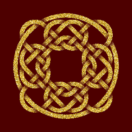 dark red: Golden glittering template in Celtic knots style on dark red background. Tribal symbol in circular mandala form. Gold ornament for jewelry design.