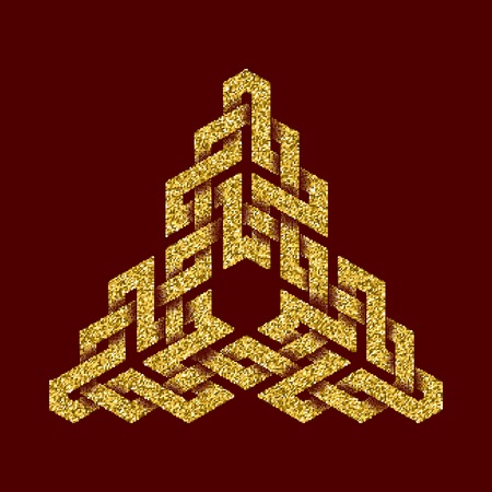 dark red: Golden glittering template in Celtic knots style on dark red background. Symbol in triangular form. Gold ornament for jewelry design. Illustration