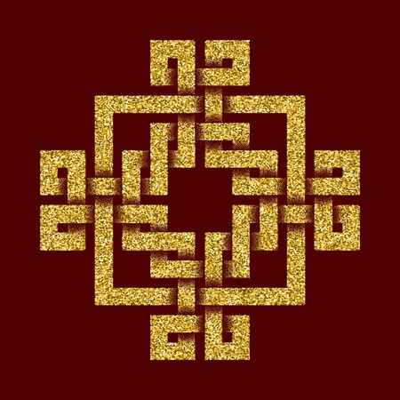 dark red: Golden glittering template in Celtic knots style on dark red background. Tribal symbol in cruciform maze form. Gold ornament for jewelry design.