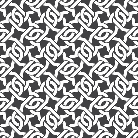 Seamless pattern of intersecting curly brackets with swatch for filling. Celtic chain mail. Fashion geometric background for web or printing design. Illustration