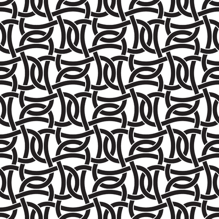 cult: Seamless pattern of intersecting braces with swatch for filling. Celtic chain mail. Fashion geometric background for web or printing design.