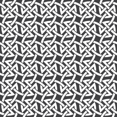 filling: Seamless pattern of intersecting braces with swatch for filling. Celtic chain mail. Fashion geometric background for web or printing design.