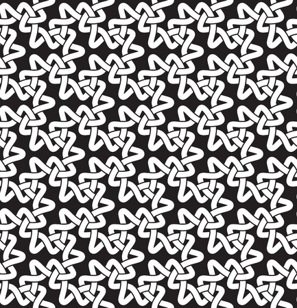 Celtic chain mail. Seamless pattern of intersecting trefoils with swatch for filling. Fashion geometric background for web or printing design. Illustration