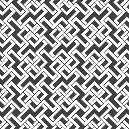 cult: Seamless pattern of intersecting zigzag shapes with swatch for filling. Celtic chain mail. Fashion geometric background for web or printing design.