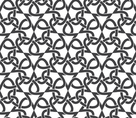 intersecting: Seamless pattern of intersecting infinities with swatch for filling. Celtic chain mail. Fashion geometric background for web or printing design. Illustration
