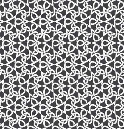 Seamless pattern of intersecting infinities with swatch for filling. Celtic chain mail. Fashion geometric background for web or printing design. Illustration