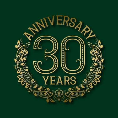 Golden emblem of thirtieth years anniversary. Celebration patterned logotype with shadow on green.