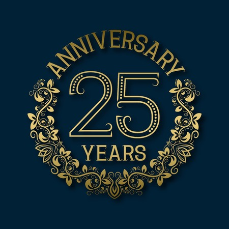Golden emblem of twenty fifth years anniversary. Celebration patterned logotype with shadow on blue.