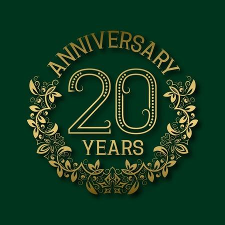 twentieth: Golden emblem of twentieth years anniversary. Celebration patterned logotype with shadow on green.