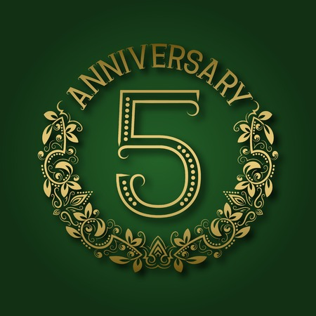 fifth: Golden emblem of fifth anniversary. Celebration patterned logotype with shadow on green. Illustration
