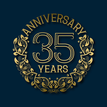 fifth: Golden emblem of thirty fifth years anniversary. Celebration patterned logotype with shadow on blue.