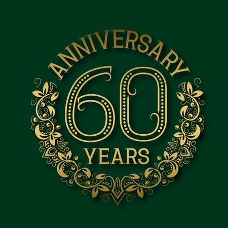 Golden emblem of sixtieth years anniversary. Celebration patterned logotype with shadow on green.