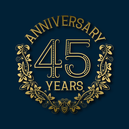 fifth: Golden emblem of forty fifth years anniversary. Celebration patterned logotype with shadow on blue.