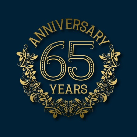 fifth: Golden emblem of sixty fifth years anniversary. Celebration patterned logotype with shadow on blue.