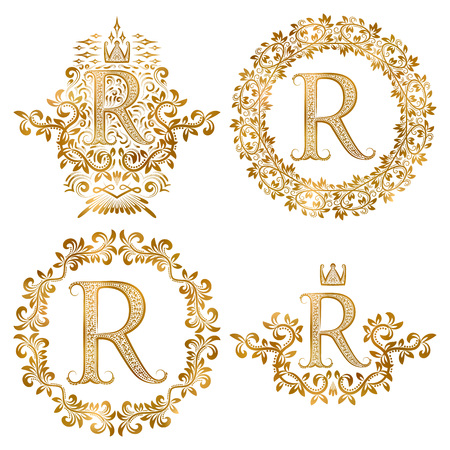Golden R letter vintage monograms set. Heraldic coats of arms and round frames.