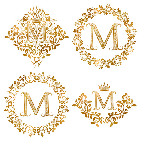 Golden letter M vintage monograms set. Heraldic monogram in coats of arms form, letter M in floral round frame, letter M in wreath, heraldic monogram in floral decoration with crown.